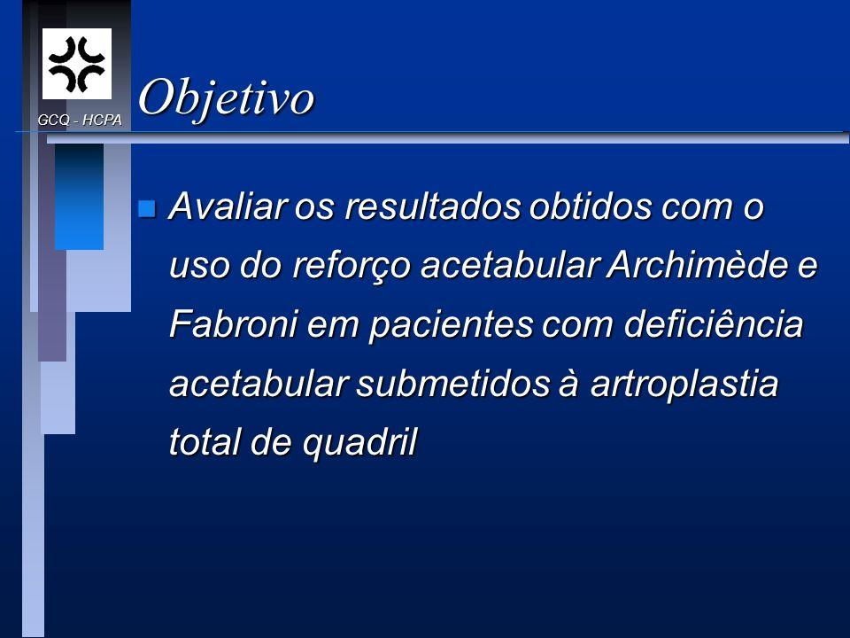Objetivo n Avaliar os resultados obtidos com o uso do reforço acetabular Archimède e Fabroni em pacientes com deficiência acetabular submetidos à artr