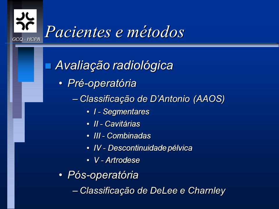 Pacientes e métodos n Avaliação radiológica Pré-operatóriaPré-operatória –Classificação de DAntonio (AAOS) I - SegmentaresI - Segmentares II - Cavitár