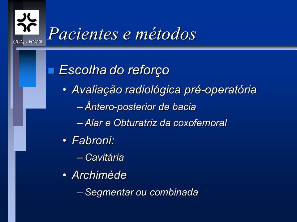 Pacientes e métodos n Escolha do reforço Avaliação radiológica pré-operatóriaAvaliação radiológica pré-operatória –Ântero-posterior de bacia –Alar e O