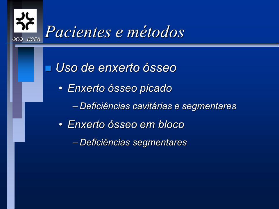 Pacientes e métodos n Uso de enxerto ósseo Enxerto ósseo picadoEnxerto ósseo picado –Deficiências cavitárias e segmentares Enxerto ósseo em blocoEnxer
