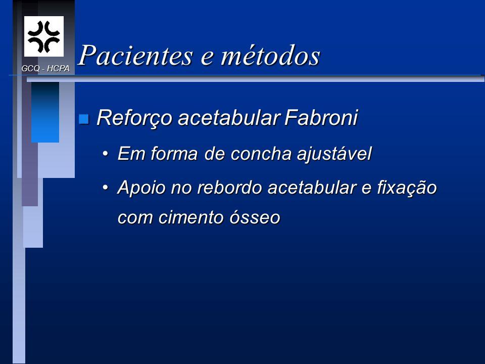 Pacientes e métodos n Reforço acetabular Fabroni Em forma de concha ajustávelEm forma de concha ajustável Apoio no rebordo acetabular e fixação com ci