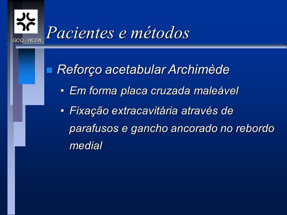 Pacientes e métodos n Reforço acetabular Archimède Em forma placa cruzada maleávelEm forma placa cruzada maleável Fixação extracavitária através de pa