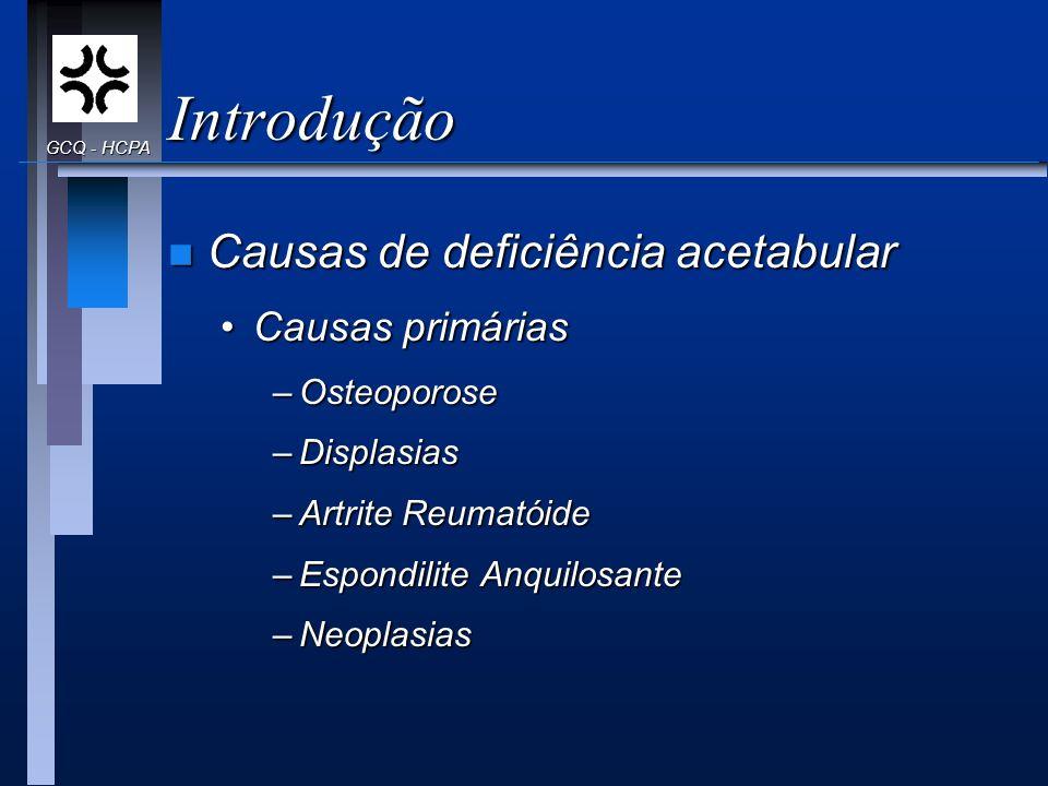 Introdução n Causas de deficiência acetabular Causas primáriasCausas primárias –Osteoporose –Displasias –Artrite Reumatóide –Espondilite Anquilosante