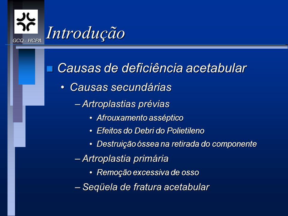 Introdução n Causas de deficiência acetabular Causas secundáriasCausas secundárias –Artroplastias prévias Afrouxamento assépticoAfrouxamento asséptico