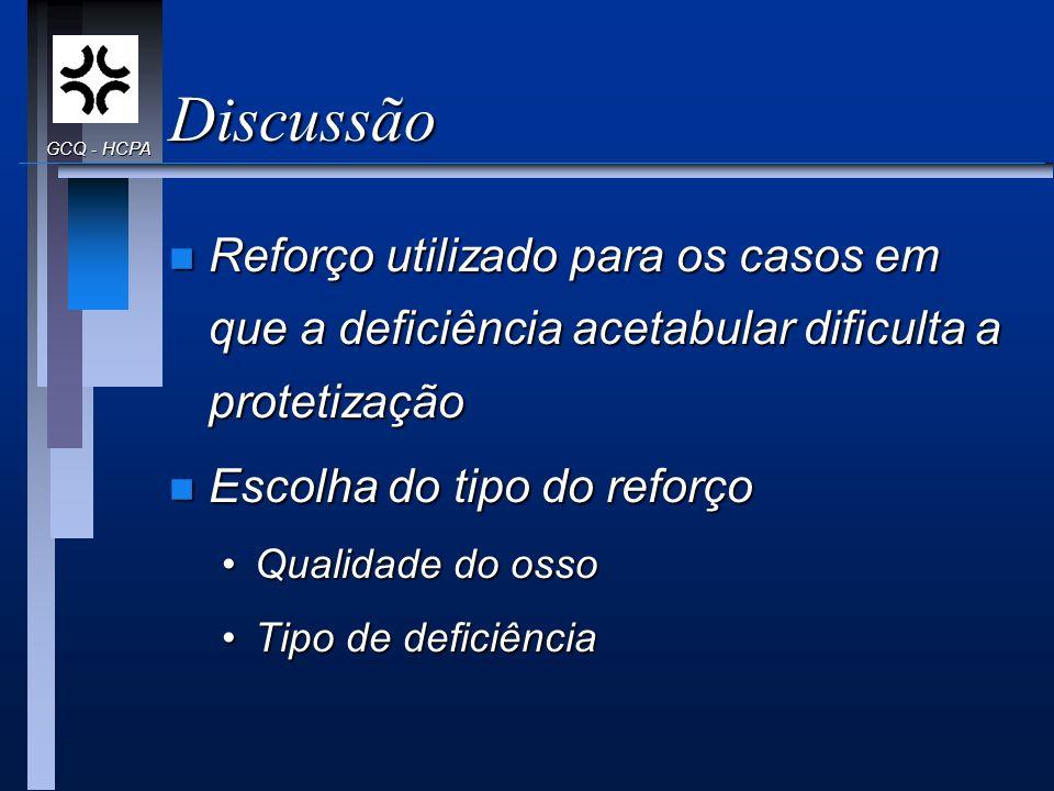 Discussão n Reforço utilizado para os casos em que a deficiência acetabular dificulta a protetização n Escolha do tipo do reforço Qualidade do ossoQua