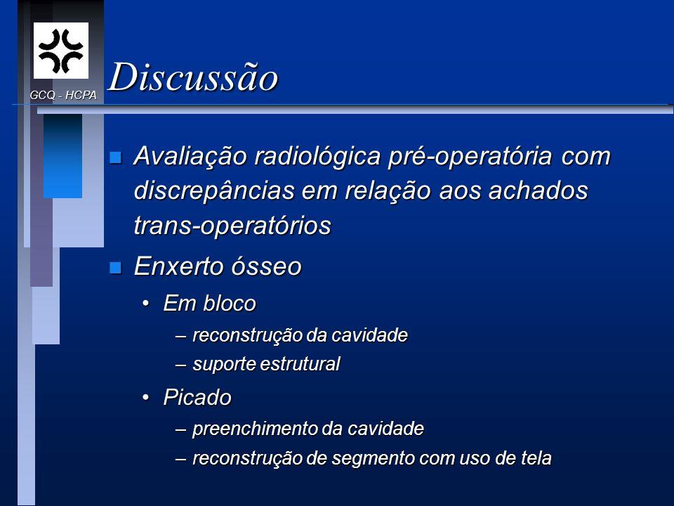 Discussão n Avaliação radiológica pré-operatória com discrepâncias em relação aos achados trans-operatórios n Enxerto ósseo Em blocoEm bloco –reconstr