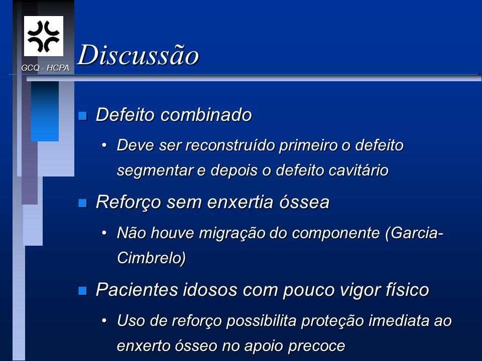 Discussão n Defeito combinado Deve ser reconstruído primeiro o defeito segmentar e depois o defeito cavitárioDeve ser reconstruído primeiro o defeito