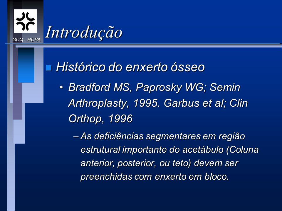 Introdução n Histórico do enxerto ósseo Bradford MS, Paprosky WG; Semin Arthroplasty, 1995. Garbus et al; Clin Orthop, 1996Bradford MS, Paprosky WG; S