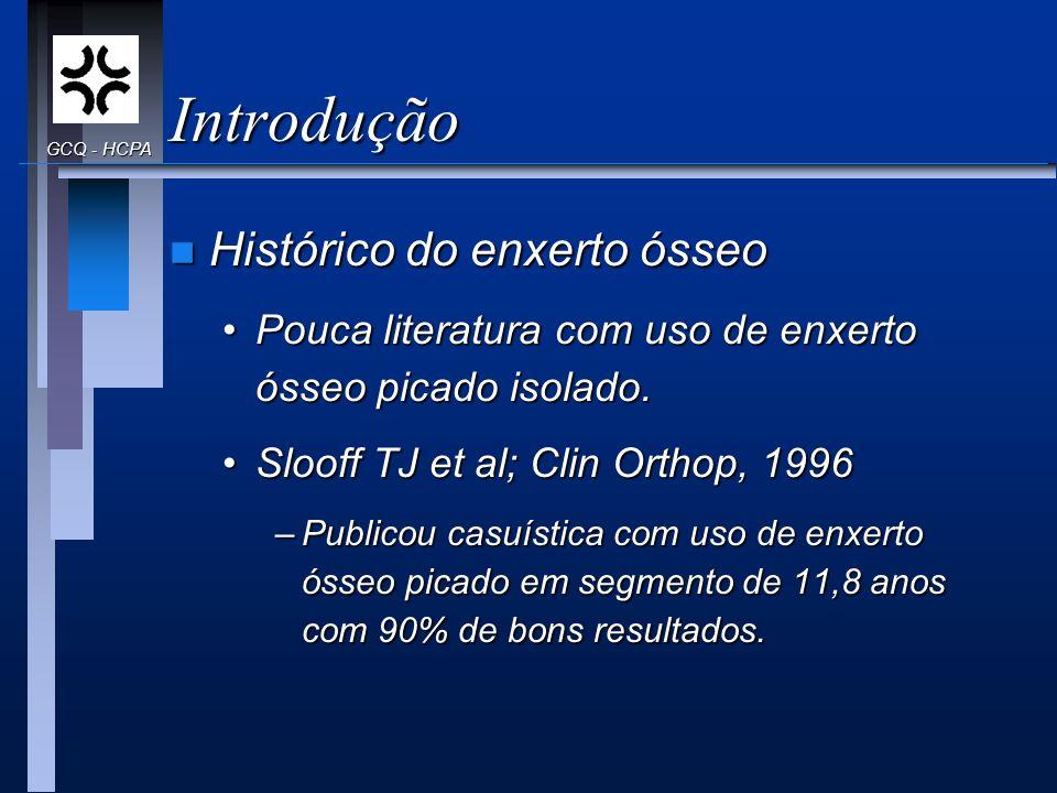Introdução n Histórico do enxerto ósseo Pouca literatura com uso de enxerto ósseo picado isolado.Pouca literatura com uso de enxerto ósseo picado isol