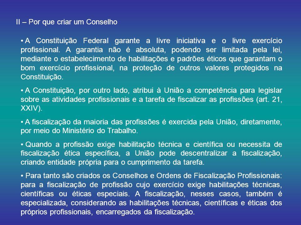 II – Por que criar um Conselho A Constituição Federal garante a livre iniciativa e o livre exercício profissional. A garantia não é absoluta, podendo