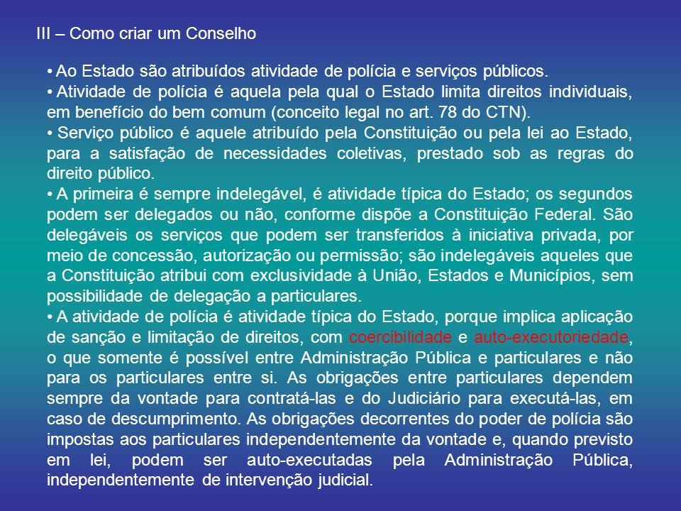 III – Como criar um Conselho Ao Estado são atribuídos atividade de polícia e serviços públicos. Atividade de polícia é aquela pela qual o Estado limit