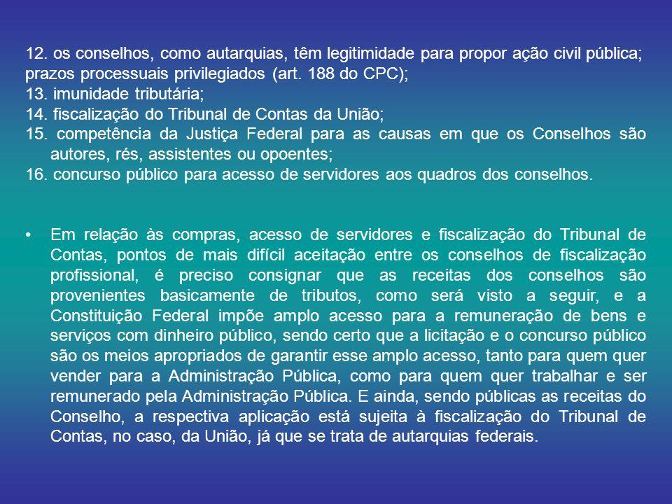 12. os conselhos, como autarquias, têm legitimidade para propor ação civil pública; prazos processuais privilegiados (art. 188 do CPC); 13. imunidade