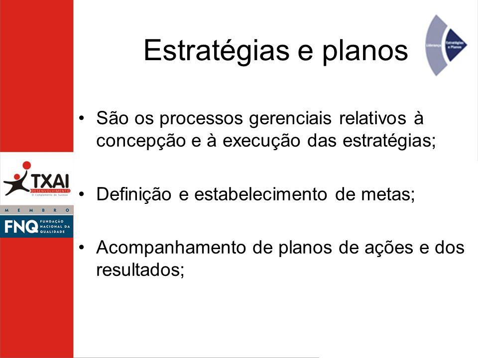 Estratégias e planos São os processos gerenciais relativos à concepção e à execução das estratégias; Definição e estabelecimento de metas; Acompanhame
