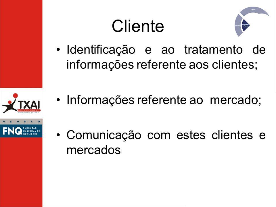 Cliente Identificação e ao tratamento de informações referente aos clientes; Informações referente ao mercado; Comunicação com estes clientes e mercad