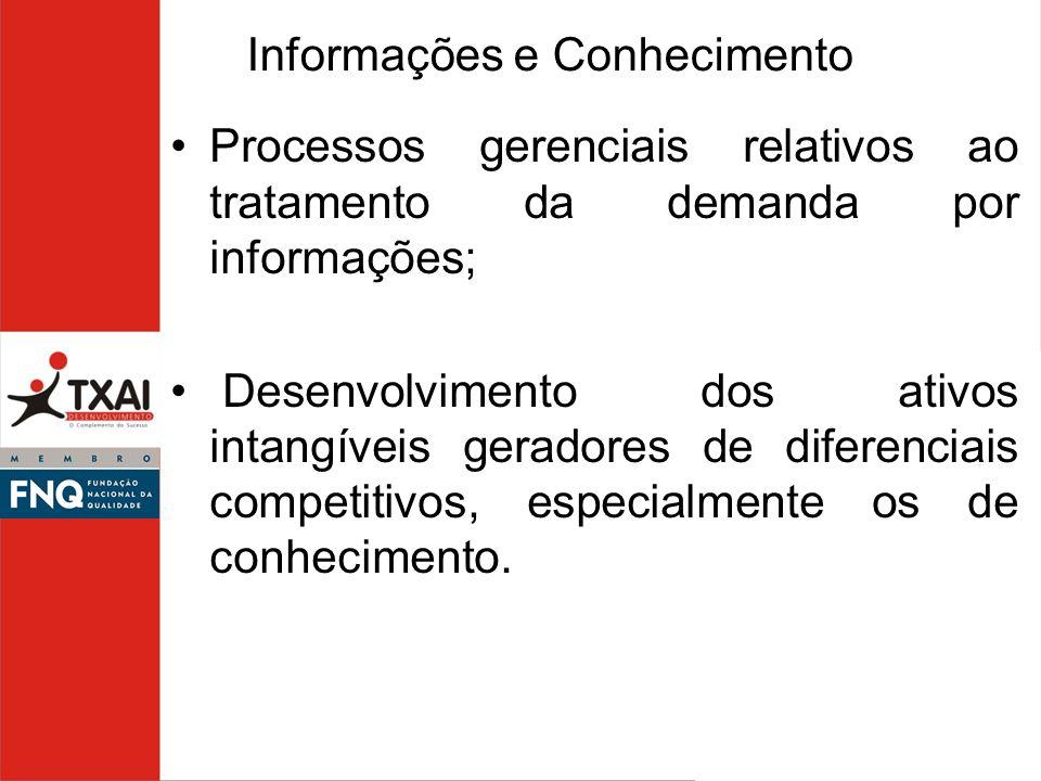 Processos gerenciais relativos ao tratamento da demanda por informações; Desenvolvimento dos ativos intangíveis geradores de diferenciais competitivos
