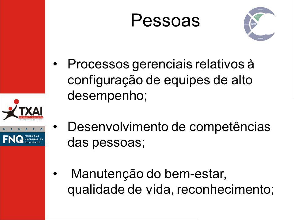 Processos gerenciais relativos à configuração de equipes de alto desempenho; Desenvolvimento de competências das pessoas; Manutenção do bem-estar, qua