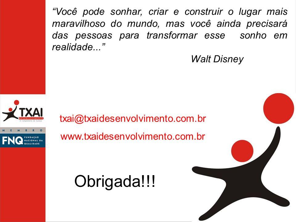 txai@txaidesenvolvimento.com.br www.txaidesenvolvimento.com.br Obrigada!!! Você pode sonhar, criar e construir o lugar mais maravilhoso do mundo, mas