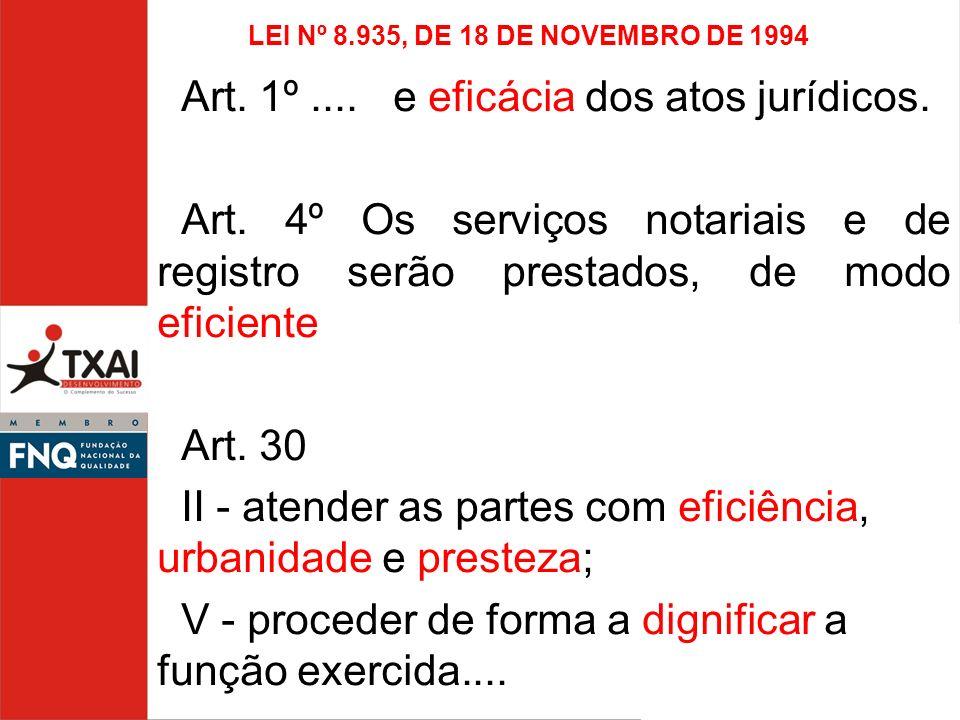 LEI Nº 8.935, DE 18 DE NOVEMBRO DE 1994 Art. 1º.... e eficácia dos atos jurídicos. Art. 4º Os serviços notariais e de registro serão prestados, de mod