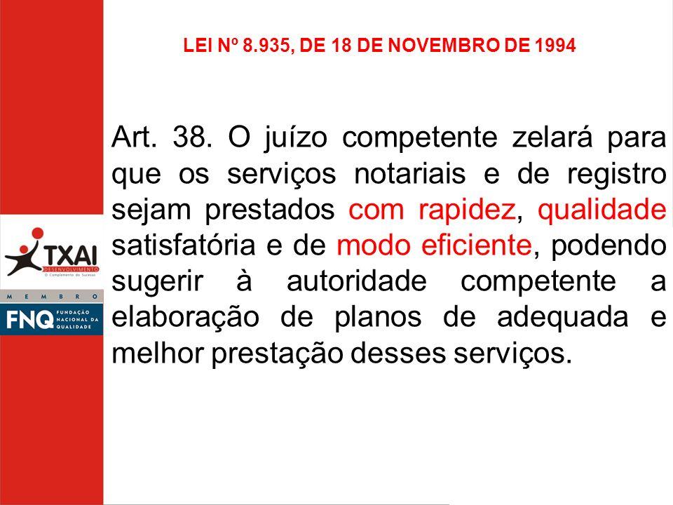 LEI Nº 8.935, DE 18 DE NOVEMBRO DE 1994 Art. 38. O juízo competente zelará para que os serviços notariais e de registro sejam prestados com rapidez, q