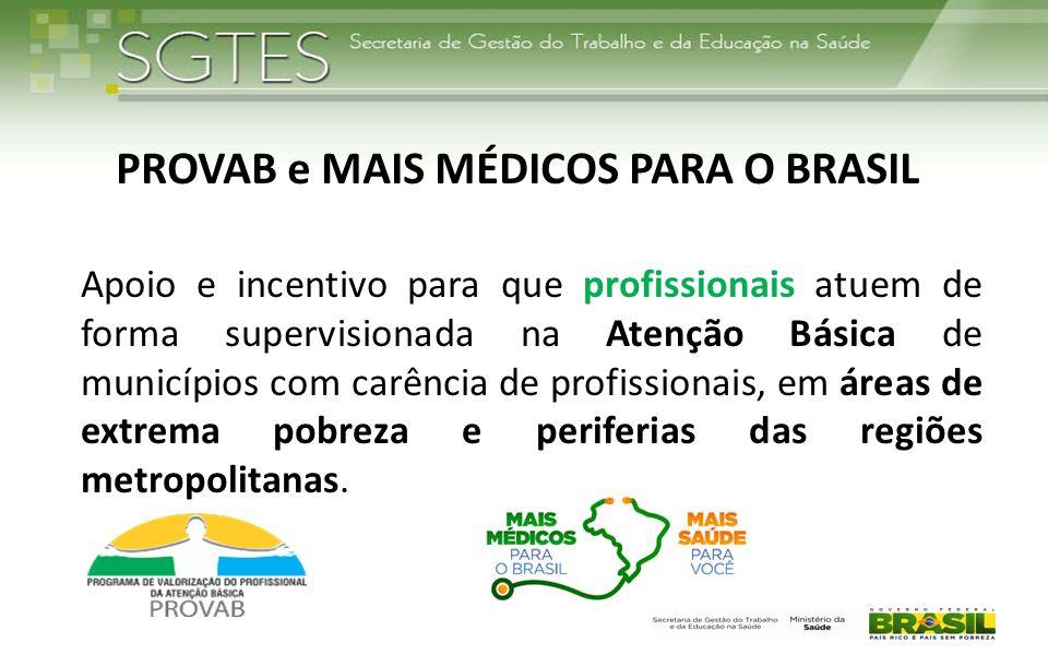 PROVAB e MAIS MÉDICOS PARA O BRASIL Apoio e incentivo para que profissionais atuem de forma supervisionada na Atenção Básica de municípios com carênci