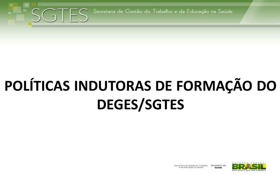 POLÍTICAS INDUTORAS DE FORMAÇÃO DO DEGES/SGTES