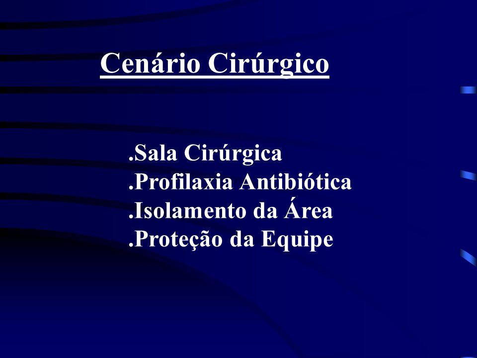 Cenário Cirúrgico.Sala Cirúrgica.Profilaxia Antibiótica.Isolamento da Área.Proteção da Equipe