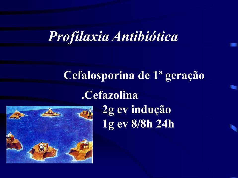 Profilaxia Antibiótica Cefalosporina de 1ª geração.Cefazolina 2g ev indução 1g ev 8/8h 24h