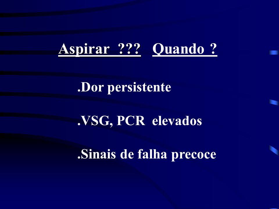 Aspirar ??? Aspirar ??? Quando ?.Dor persistente.VSG, PCR elevados.Sinais de falha precoce