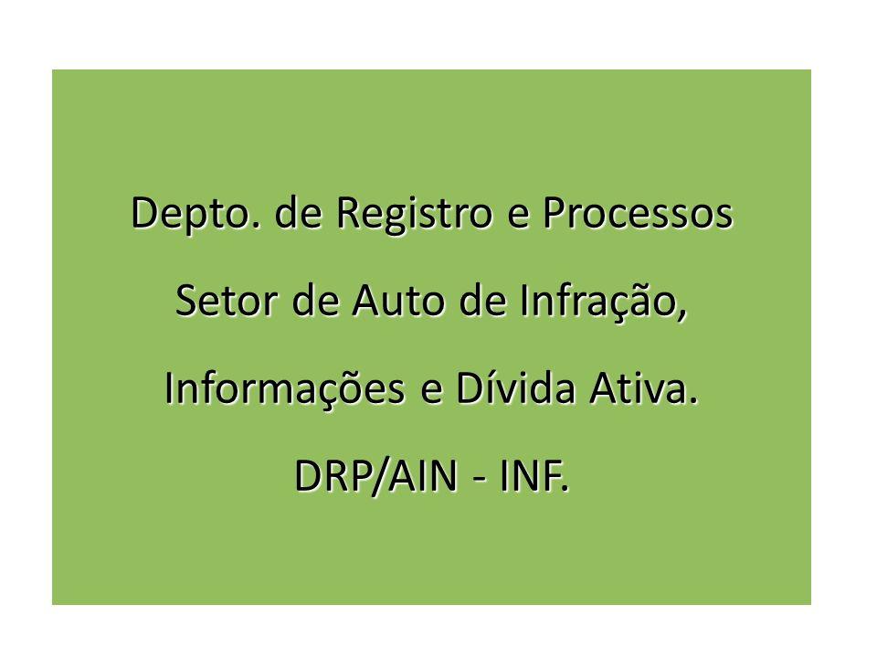 Depto. de Registro e Processos Setor de Auto de Infração, Informações e Dívida Ativa. DRP/AIN - INF.
