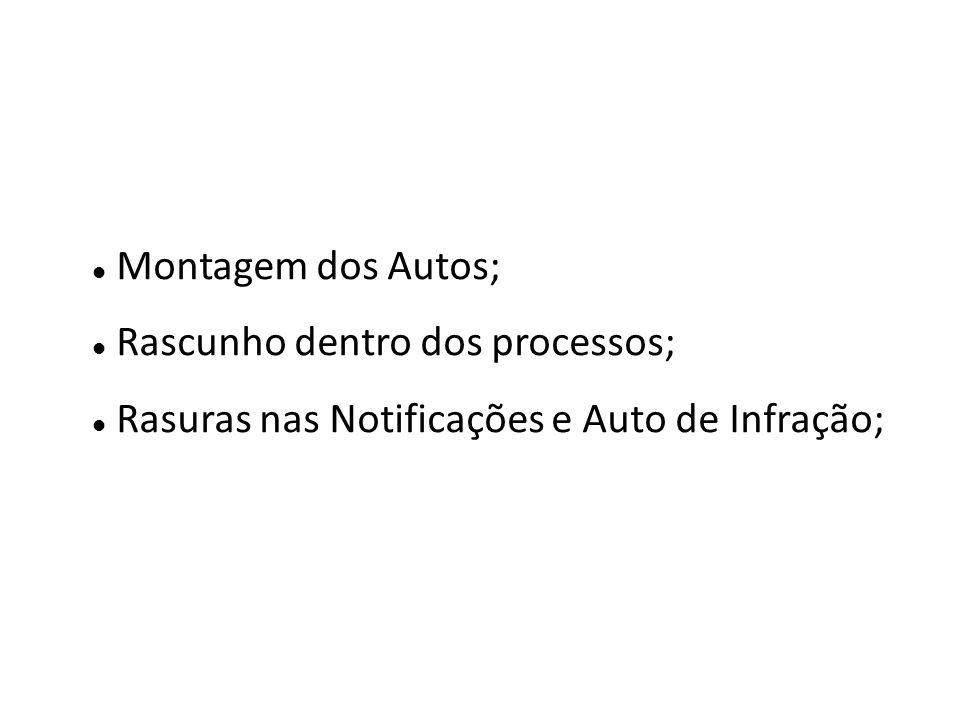 Montagem dos Autos; Rascunho dentro dos processos; Rasuras nas Notificações e Auto de Infração;