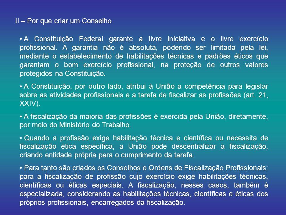 II – Por que criar um Conselho A Constituição Federal garante a livre iniciativa e o livre exercício profissional.