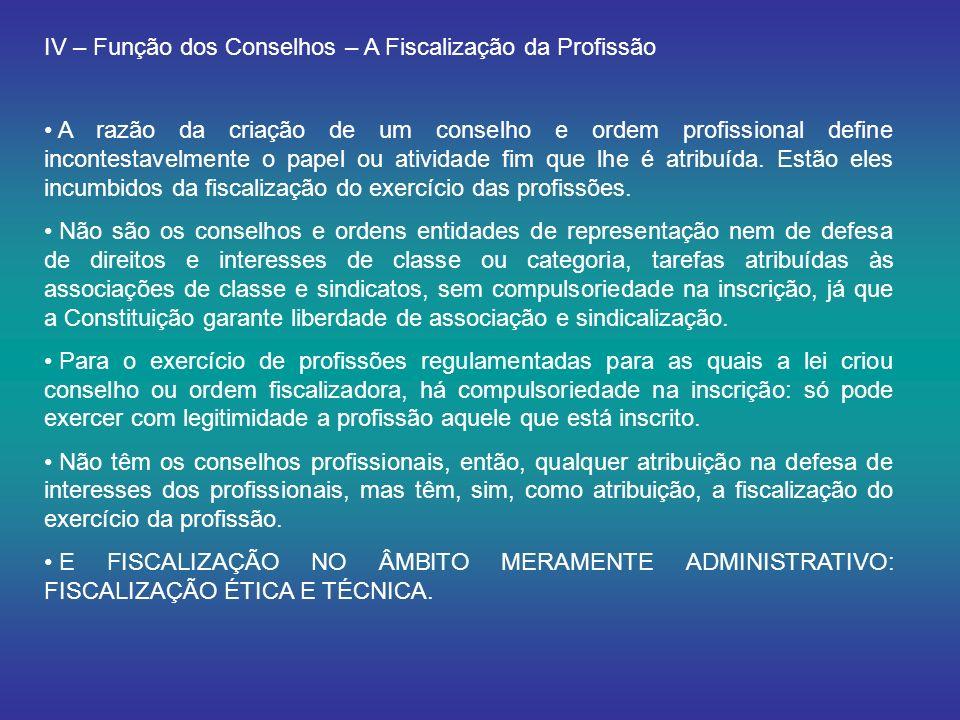 IV – Função dos Conselhos – A Fiscalização da Profissão A razão da criação de um conselho e ordem profissional define incontestavelmente o papel ou atividade fim que lhe é atribuída.