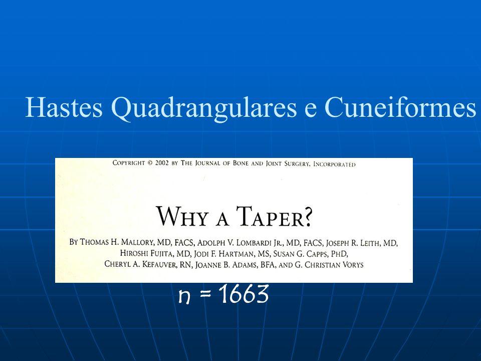 Hastes Quadrangulares e Cuneiformes n = 1663