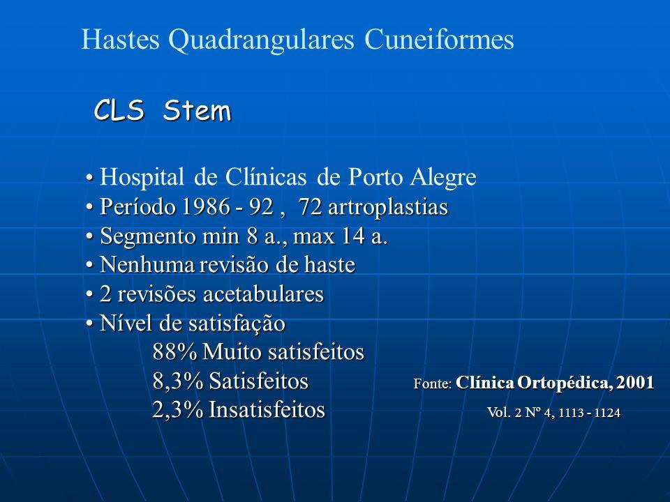 Hastes Quadrangulares Cuneiformes CLS Stem CLS Stem Hospital de Clínicas de Porto Alegre Período 1986 - 92, 72 artroplastias Período 1986 - 92, 72 artroplastias Segmento min 8 a., max 14 a.
