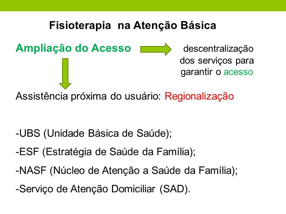 Ampliação do Acesso descentralização dos serviços para garantir o acesso Assistência próxima do usuário: Regionalização -UBS (Unidade Básica de Saúde)