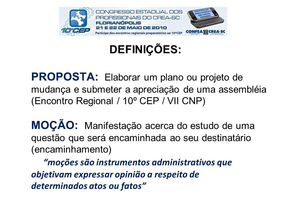 Situação existente: Proposição: Justificativa: Fundamentação legal: Sugestão de mecanismo para implantação: Forma para apresentação de Proposta: (Res.