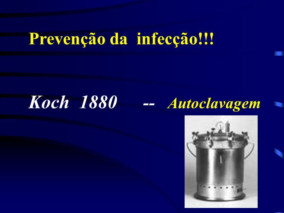 Prevenção da infecção!!! Koch 1880 -- Autoclavagem