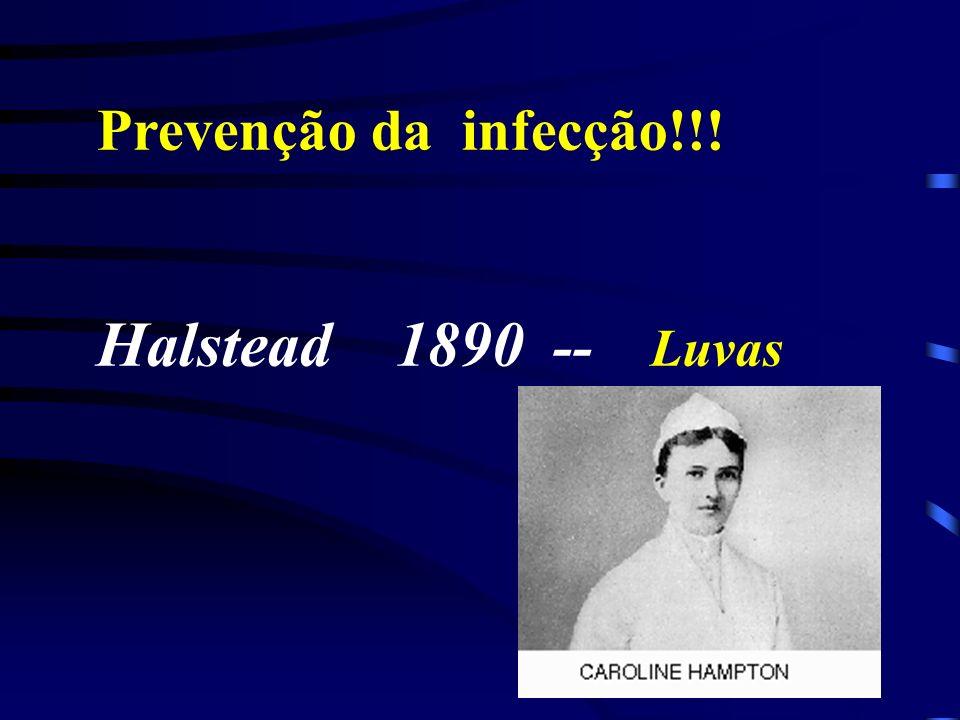 Prevenção da infecção!!! Halstead 1890 -- Luvas
