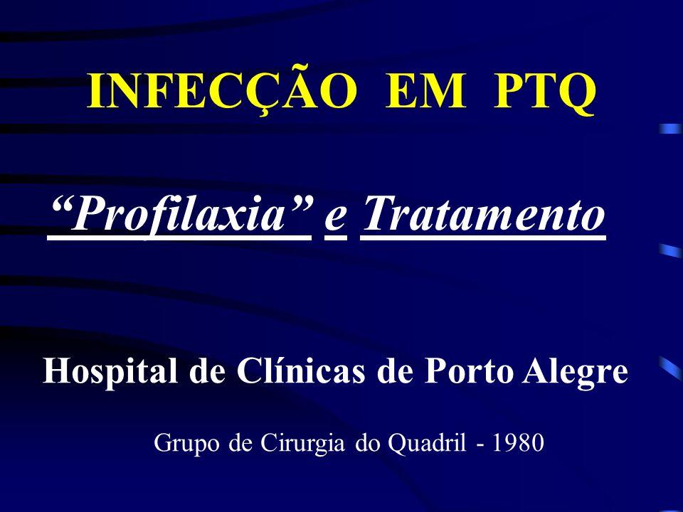 INFECÇÃO EM PTQ Profilaxia e Tratamento Hospital de Clínicas de Porto Alegre Grupo de Cirurgia do Quadril - 1980