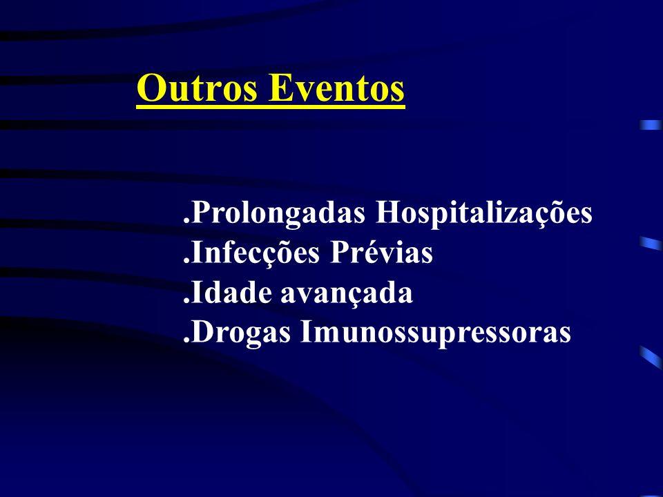 Outros Eventos.Prolongadas Hospitalizações.Infecções Prévias.Idade avançada.Drogas Imunossupressoras