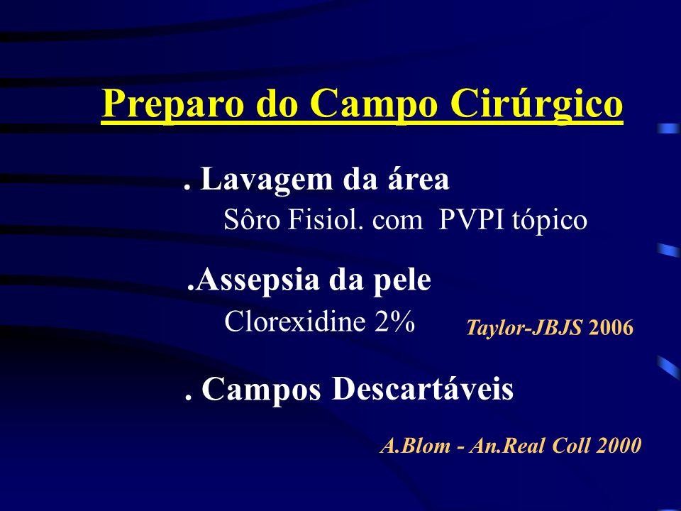 Preparo do Campo Cirúrgico. Lavagem da área Clorexidine 2%. Campos Descartáveis Taylor-JBJS 2006 A.Blom - An.Real Coll 2000.Assepsia da pele Sôro Fisi