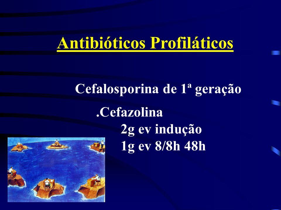 Antibióticos Profiláticos Cefalosporina de 1ª geração.Cefazolina 2g ev indução 1g ev 8/8h 48h