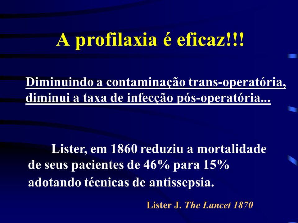A profilaxia é eficaz!!! Lister, em 1860 reduziu a mortalidade de seus pacientes de 46% para 15% adotando técnicas de antissepsia. Diminuindo a contam