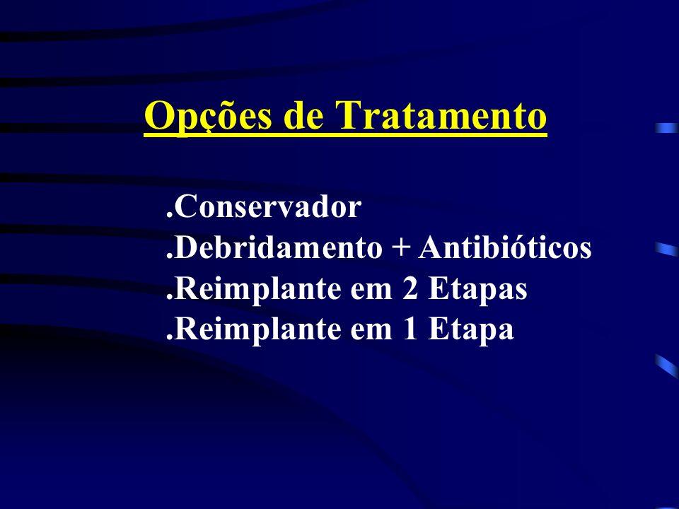 Opções de Tratamento.Conservador.Debridamento + Antibióticos.Reimplante em 2 Etapas.Reimplante em 1 Etapa