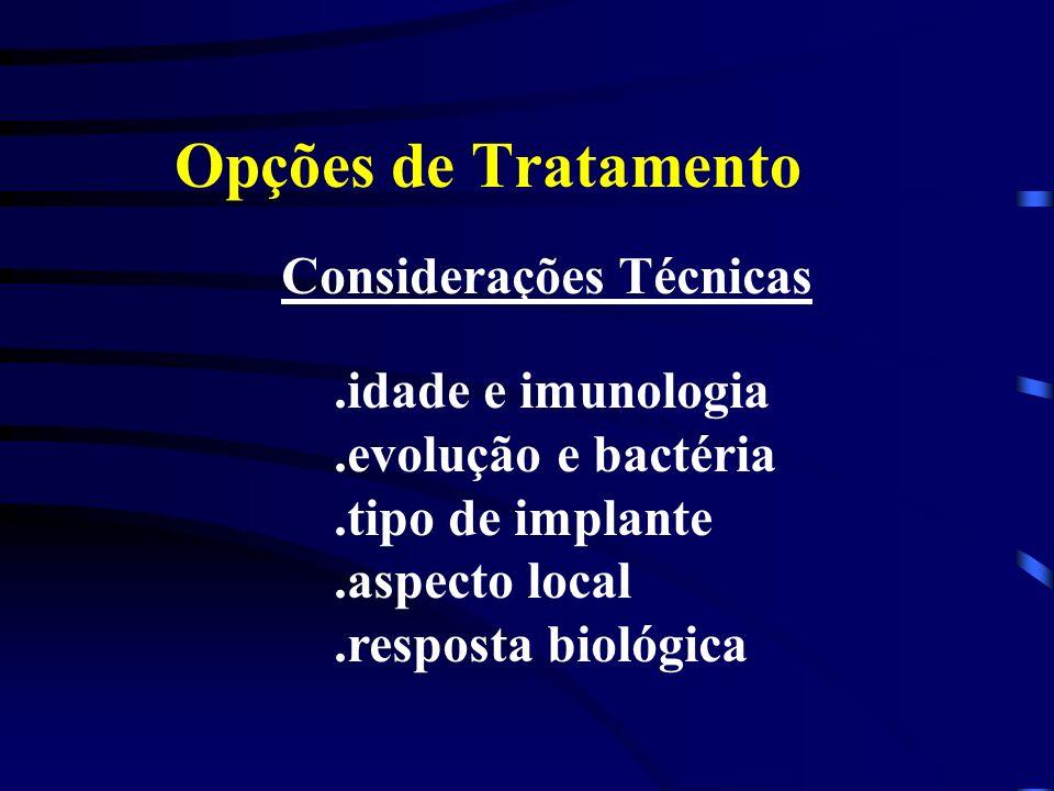 Opções de Tratamento Considerações Técnicas.idade e imunologia.evolução e bactéria.tipo de implante.aspecto local.resposta biológica