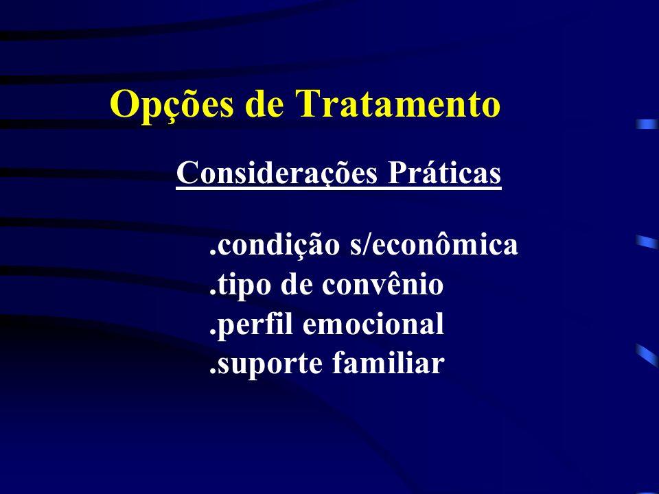 Opções de Tratamento Considerações Práticas.condição s/econômica.tipo de convênio.perfil emocional.suporte familiar