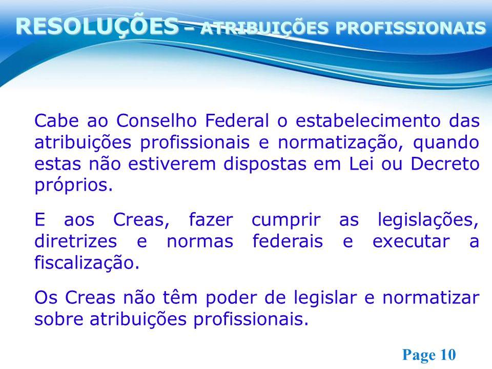 Free Powerpoint Templates Page 10 Cabe ao Conselho Federal o estabelecimento das atribuições profissionais e normatização, quando estas não estiverem dispostas em Lei ou Decreto próprios.