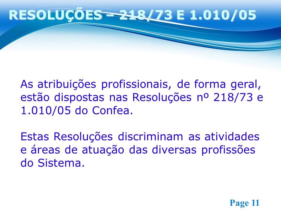 Free Powerpoint Templates Page 11 As atribuições profissionais, de forma geral, estão dispostas nas Resoluções nº 218/73 e 1.010/05 do Confea. Estas R