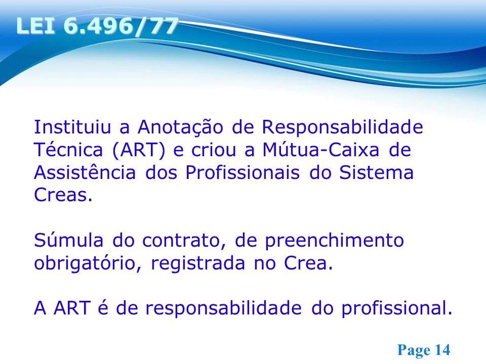 Free Powerpoint Templates Page 14 Instituiu a Anotação de Responsabilidade Técnica (ART) e criou a Mútua-Caixa de Assistência dos Profissionais do Sis