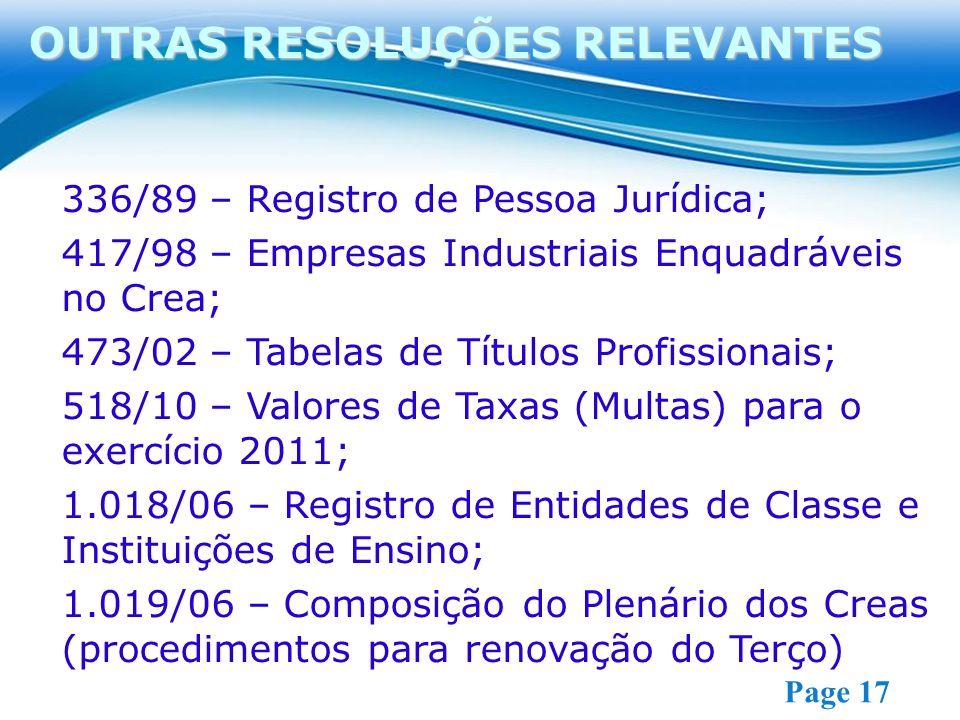Free Powerpoint Templates Page 17 336/89 – Registro de Pessoa Jurídica; 417/98 – Empresas Industriais Enquadráveis no Crea; 473/02 – Tabelas de Títulos Profissionais; 518/10 – Valores de Taxas (Multas) para o exercício 2011; 1.018/06 – Registro de Entidades de Classe e Instituições de Ensino; 1.019/06 – Composição do Plenário dos Creas (procedimentos para renovação do Terço) OUTRAS RESOLUÇÕES RELEVANTES
